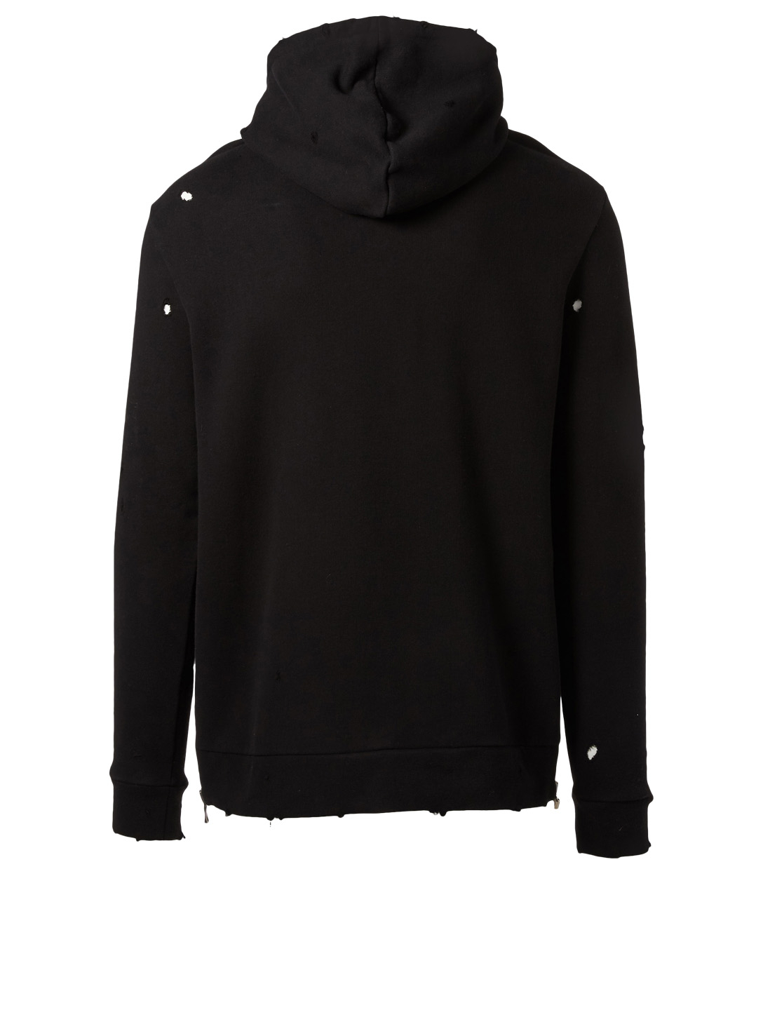BALMAIN Distressed Hoodie In Cuba Print Men's Black