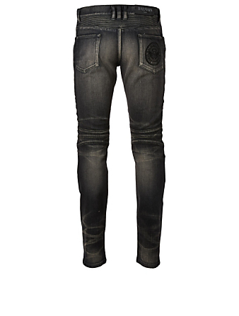 BALMAIN Slim-Fit Biker Jeans With Medallion Pocket Men's Black