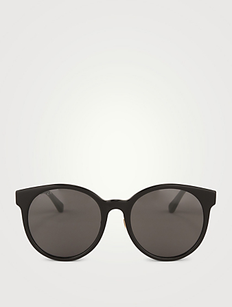 GUCCI Round Sunglasses With Web Womens Black