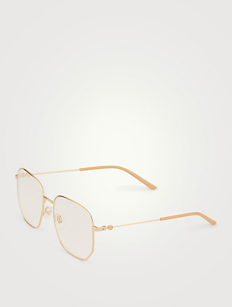 GUCCI Round Optical Glasses Womens Gold