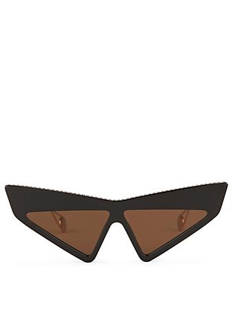 e4f94359843 GUCCI Lunettes de soleil masque œil-de-chat ornées de cristaux Femmes Noir  ...