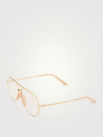 GUCCI Aviator Optical Glasses Womens Gold