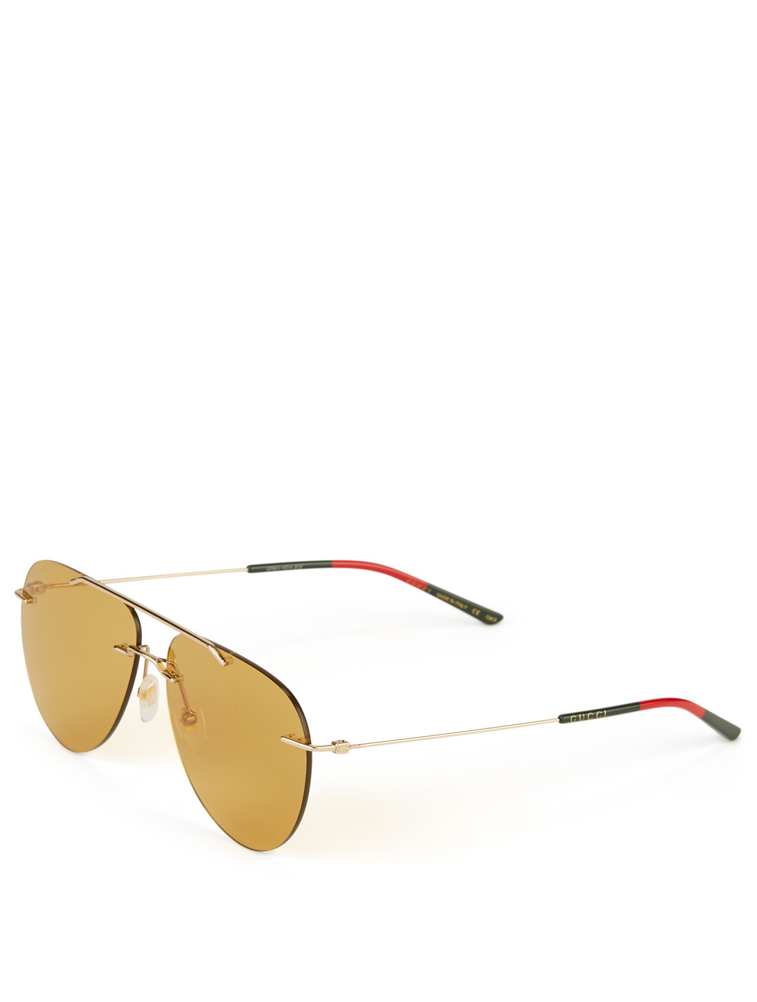 GUCCI Rimless Aviator Sunglasses Men's Yellow
