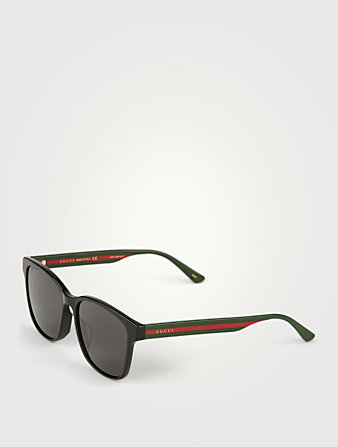 GUCCI Square Sunglasses With Web Men's Black