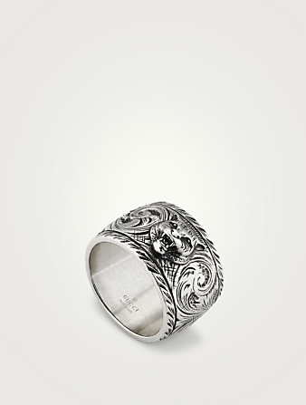 ab7d1356f752f GUCCI. Thin Sterling Silver Feline Head Ring