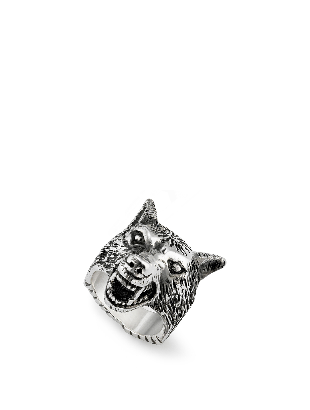 12acd90bd GUCCI Anger Forest Sterling Silver Wolf Head Ring | Holt Renfrew