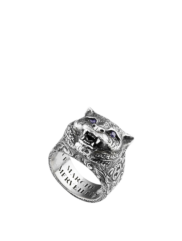 100c86dace5b6 GUCCI Gucci Garden Sterling Silver Feline Head Ring