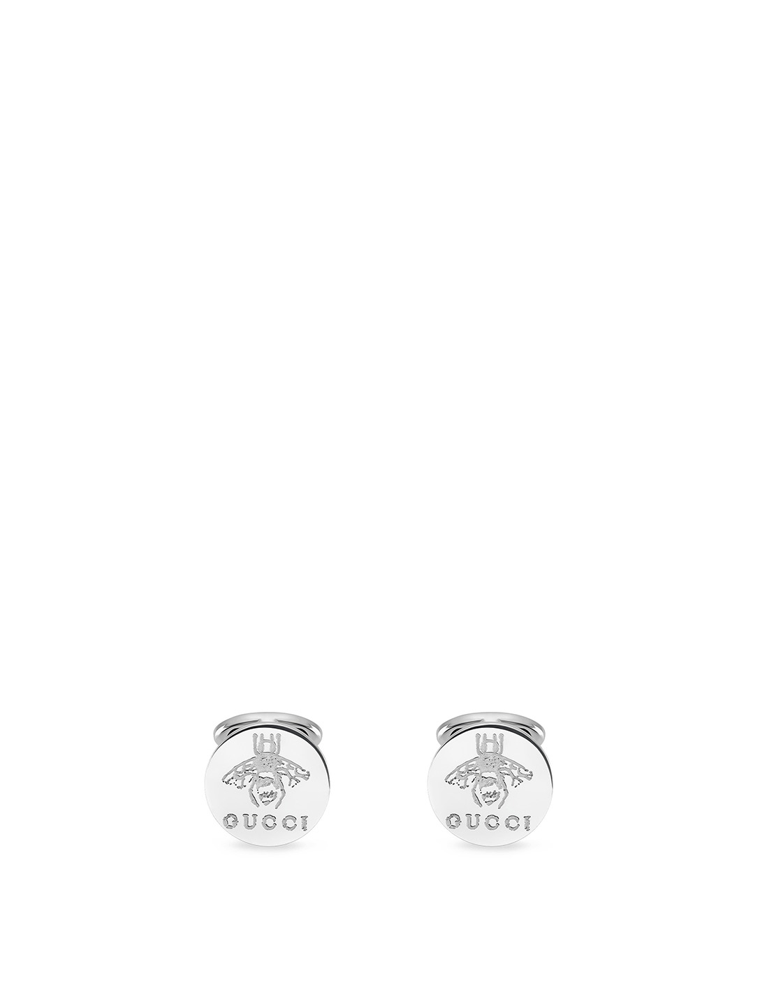 GUCCI Silver Bee Cufflinks With Logo Men's Silver