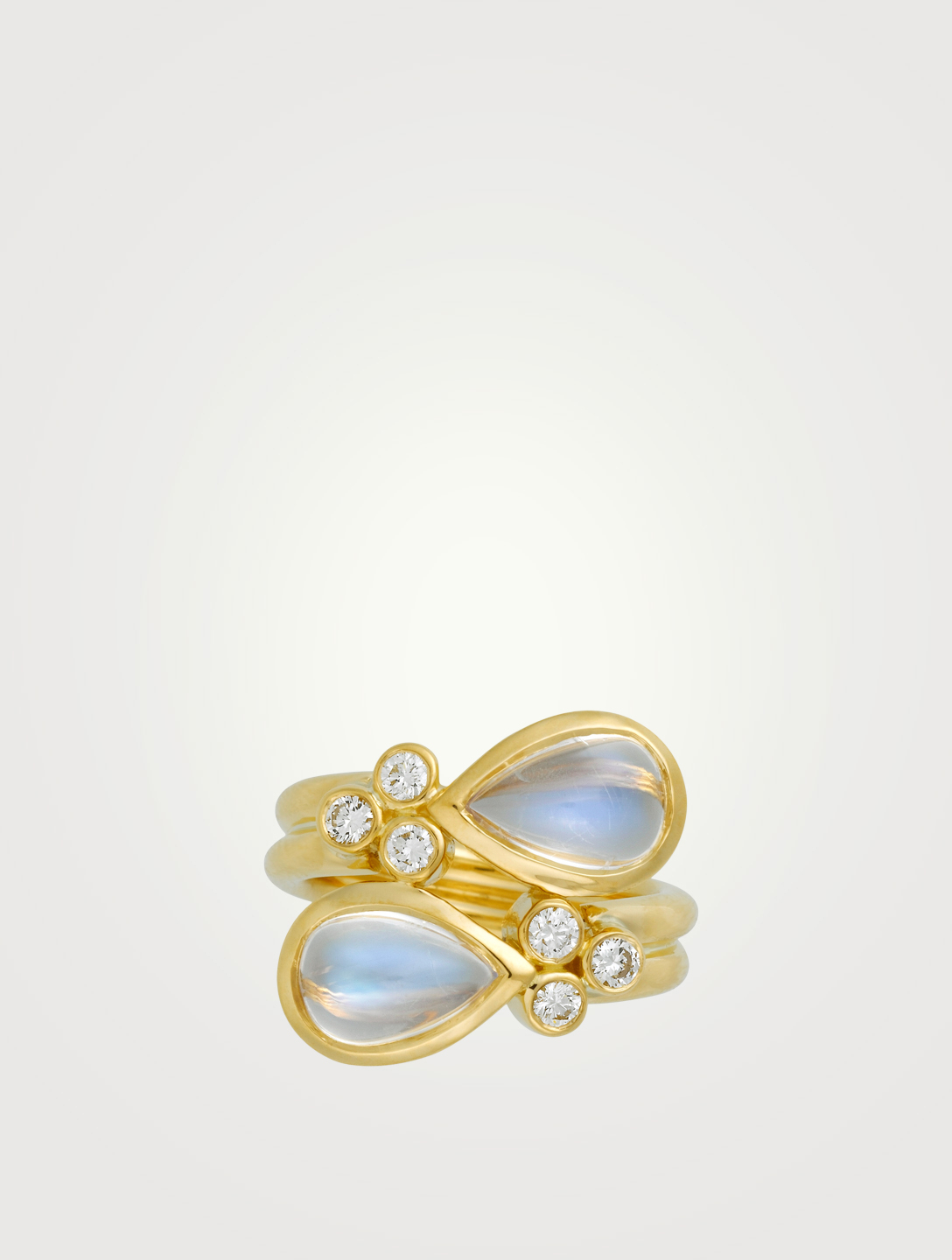 TEMPLE ST. CLAIR 18K Gold Single Mummy Ring With Royal Blue Moonstone And Diamond Women's Gold
