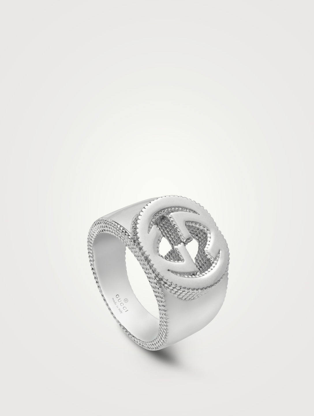 GUCCI Interlocking G Sterling Silver Ring Designers Silver