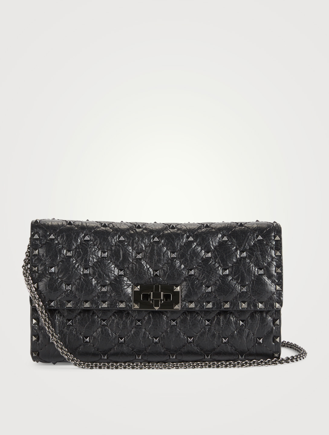 092ac18555 VALENTINO GARAVANI Rockstud Spike Cracked Leather Clutch Bag | Holt ...