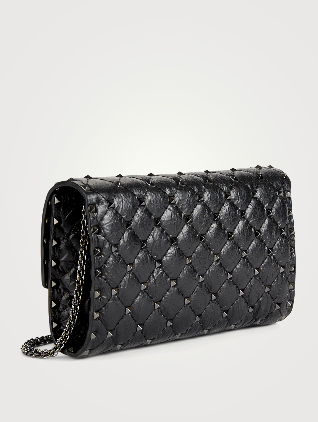 57a2c54b9d VALENTINO GARAVANI Rockstud Spike Cracked Leather Clutch Bag | Holt ...