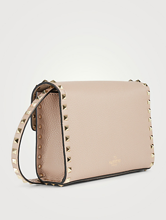 VALENTINO GARAVANI Medium Rockstud Leather Crossbody Bag Women's Pink