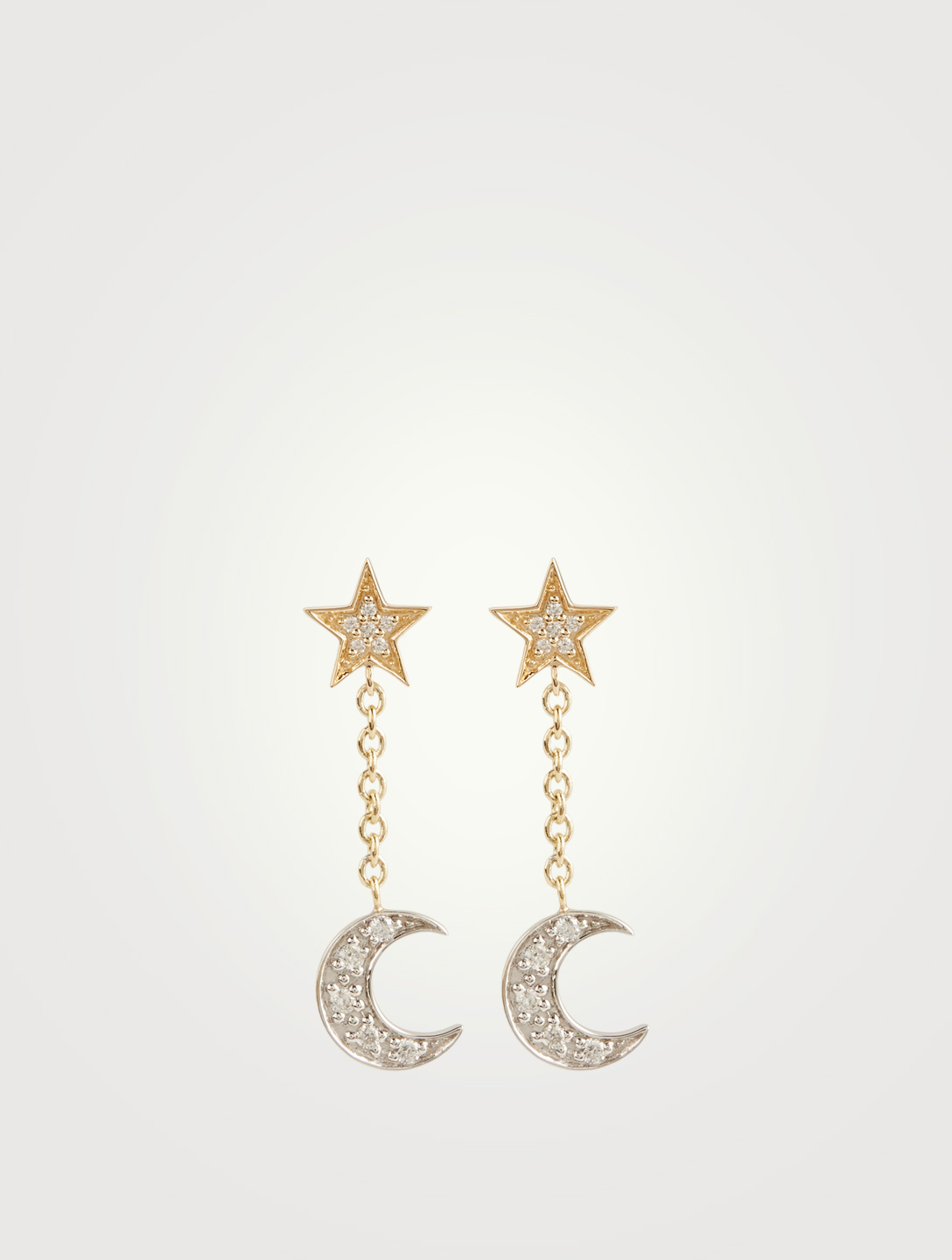 SYDNEY EVAN 14K Gold Celestial Earrings With Diamonds Women's Metallic