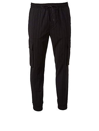 JUUN J Wool-Blend Cargo Pants In Pinstripe Men's Black