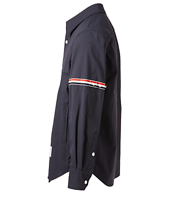 THOM BROWNE Nylon Shirt Jacket With Stripe Detail Men's Blue