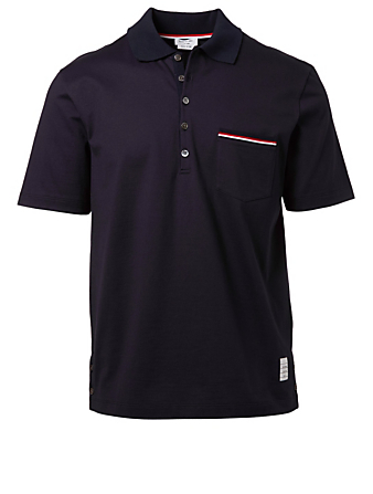 THOM BROWNE Polo Shirt With Stripe Detail Men's Blue