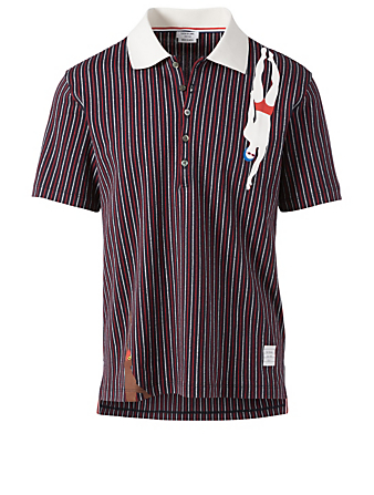 THOM BROWNE Swimmer Polo Shirt In Pinstripe Men's Multi