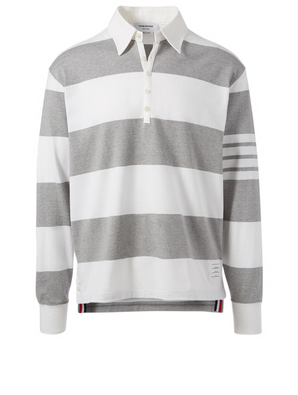 1cd50308 THOM BROWNE Four Bar Rugby Polo Shirt In Stripe   Holt Renfrew