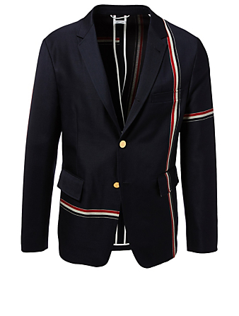 THOM BROWNE Unconstructed Wool Blazer With Engineered Stripes Men's Blue