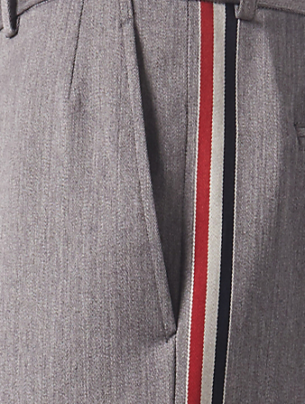 THOM BROWNE Unconstructed Wool Pants With Side Stripe Men's Grey