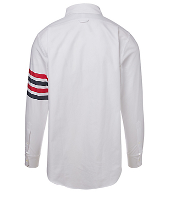 THOM BROWNE Four Bar Zip-Front Shirt Men's White