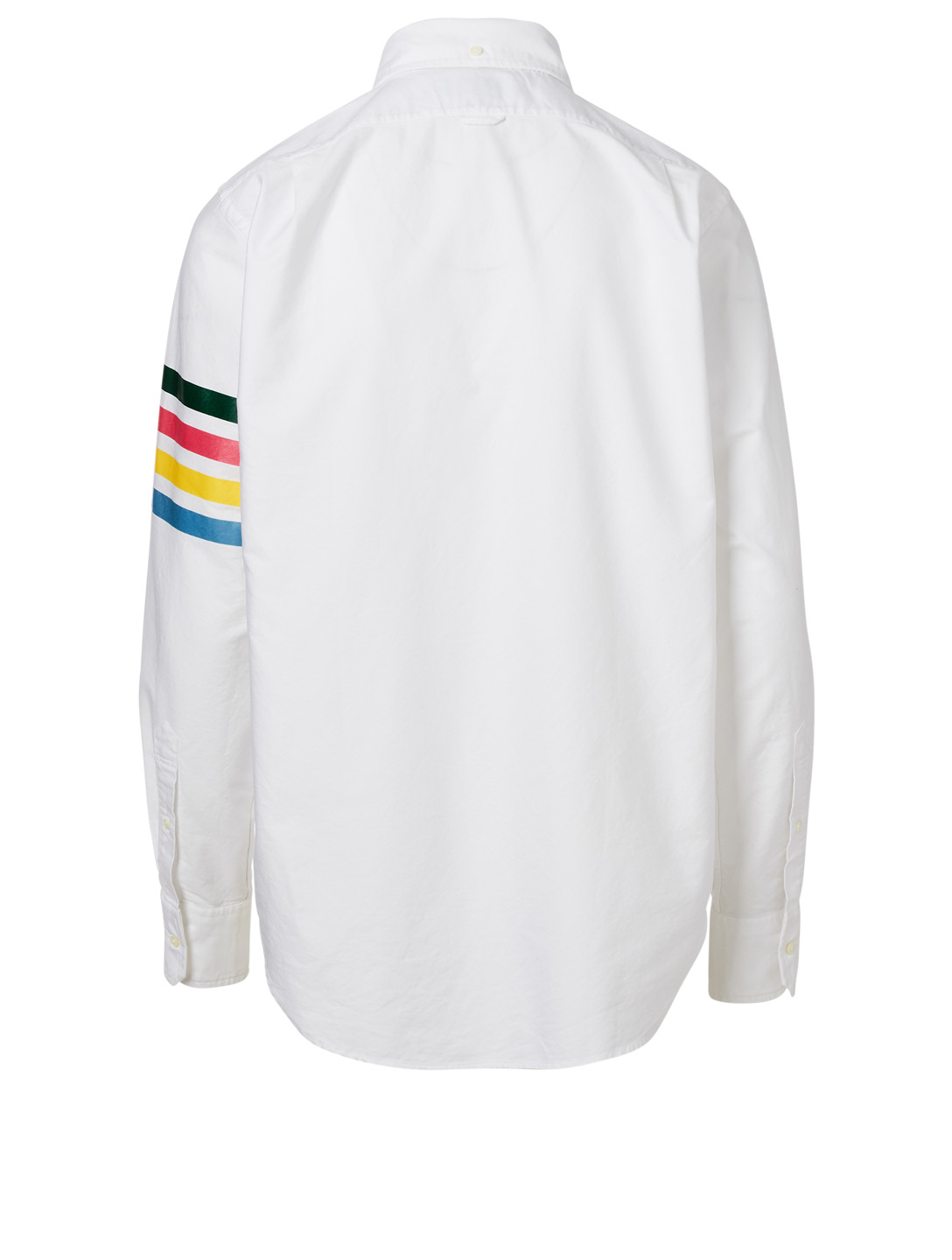 THOM BROWNE Zip Front Button-Down Shirt With Four Bar Stripe Men's White