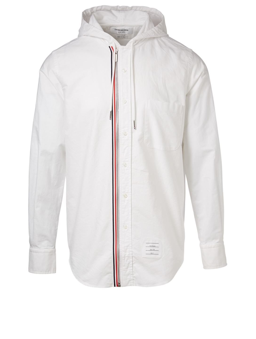 THOM BROWNE Hooded Zip-Front Shirt Men's White