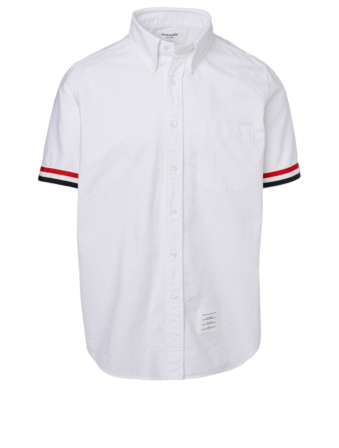 THOM BROWNE Button-Down Short-Sleeve Shirt With Grosgrain Cuffs Men's White