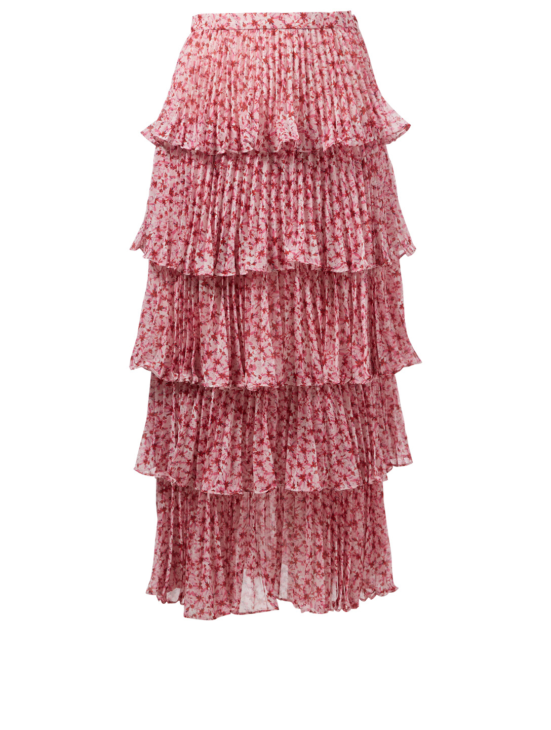 AMUR Paisley Pleated Skirt In Floral Print H Project Pink