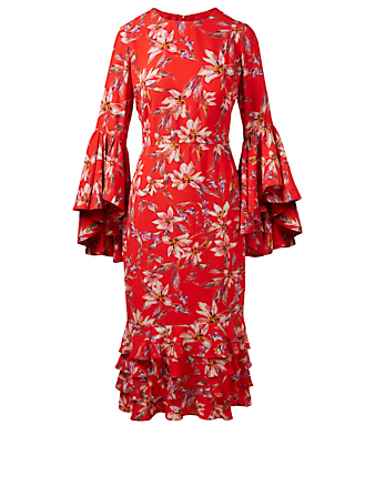 AMUR Alexia Crepe Ruffle Dress In Floral Print H Project Red