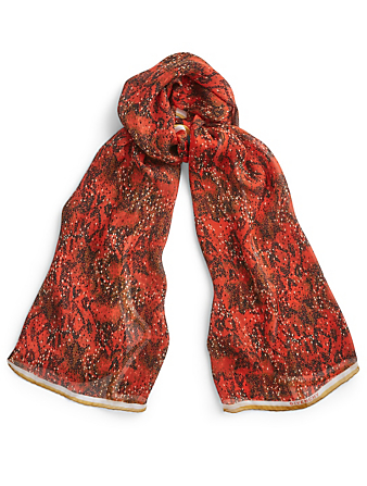 GIVENCHY Silk Scarf Snake Print Womens Red