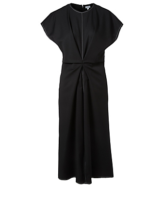 LOEWE Wool Draped Dress Women's Black