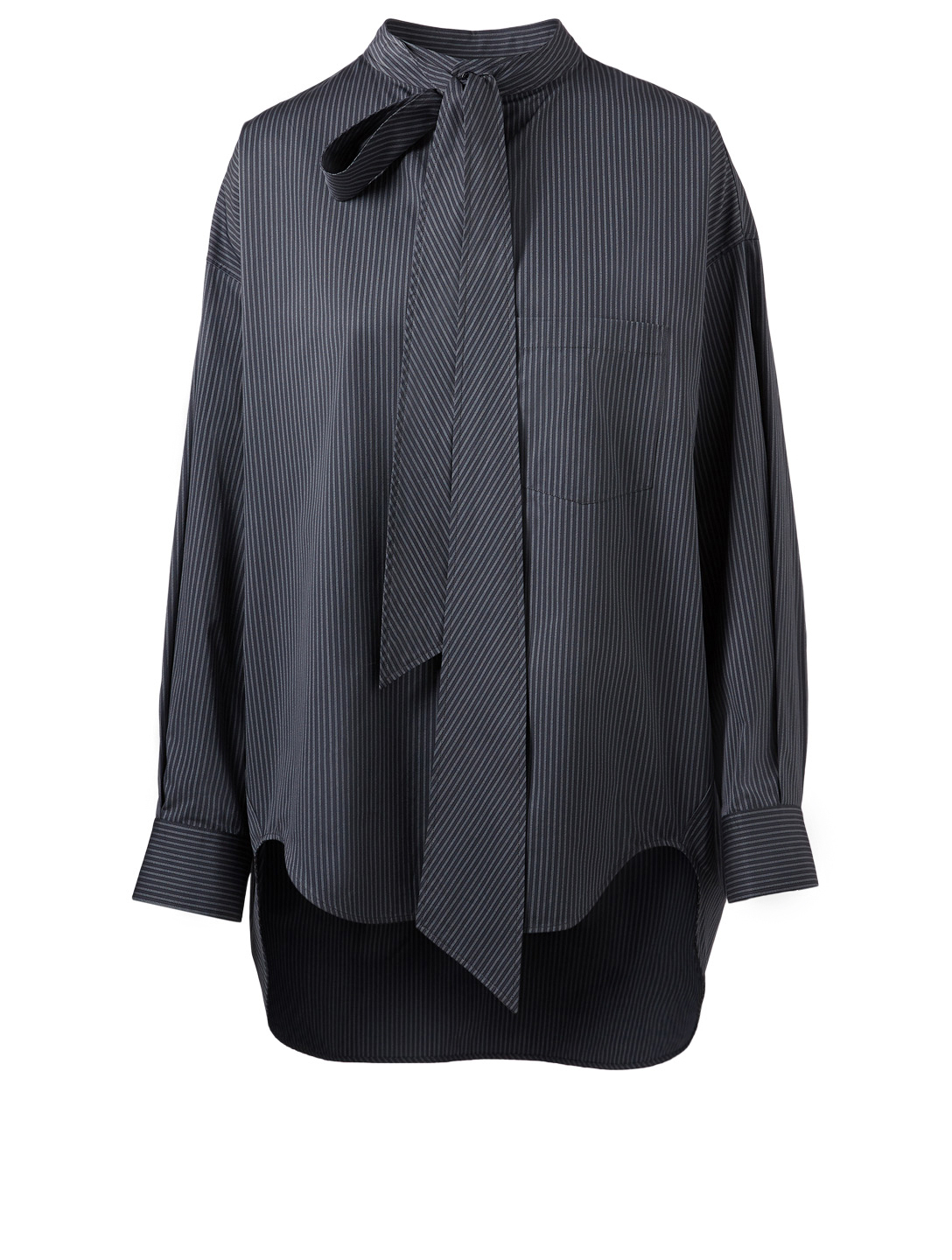 BALENCIAGA New Swing Button-Up Shirt In Stripe Women's Grey