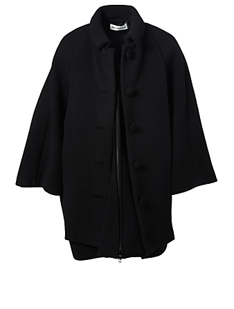 BALENCIAGA Wool Swing Coat Women's Black