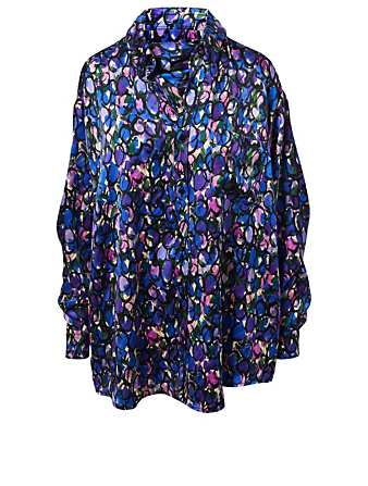 BALENCIAGA Silk Scarf Blouse In Painted Ovals Print Designers Multi