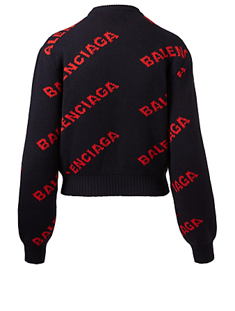 BALENCIAGA Wool Logo Jacquard Cropped Sweater Women's Blue