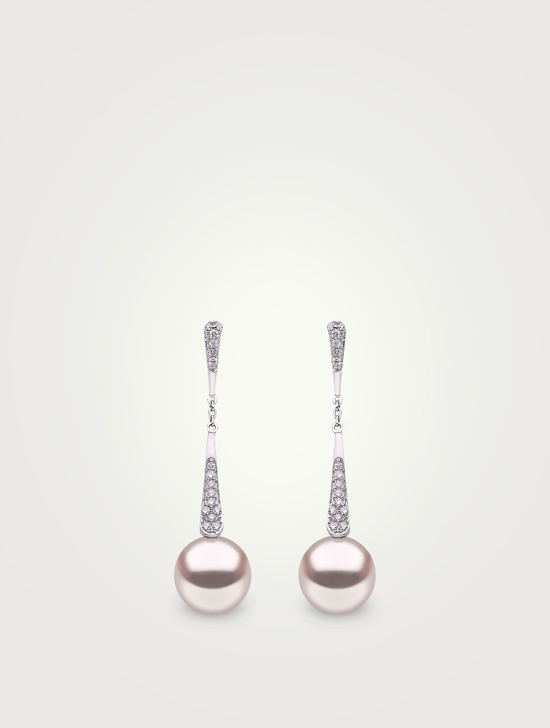 YOKO LONDON 18K White Gold Chain Drop Earrings With Pearls and Diamonds Women's White