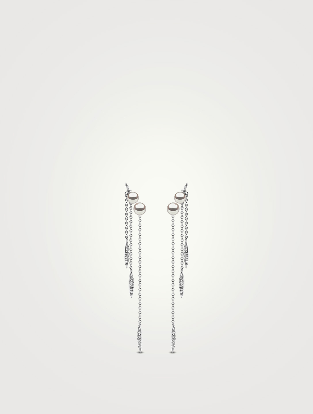 YOKO LONDON 18K White Gold Triple Chain Earrings With Pearls and Diamonds Womens White