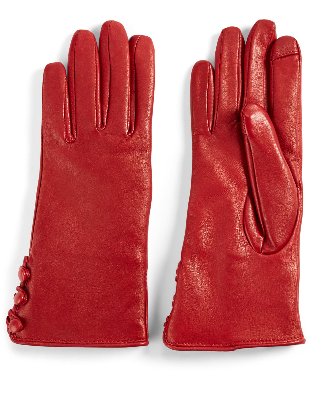 FOWNES BROTHERS & CO. Fur-Lined Leather Tech Gloves Collections Red