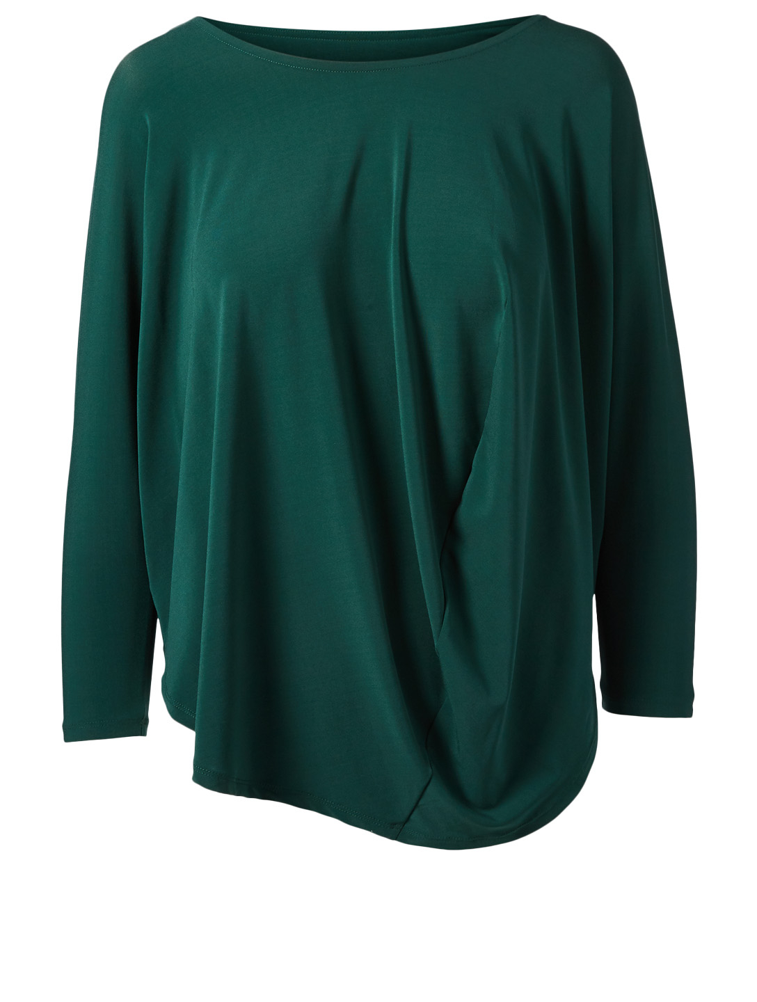 ISSEY MIYAKE Draped Jersey Long Sleeve Top Women's Green