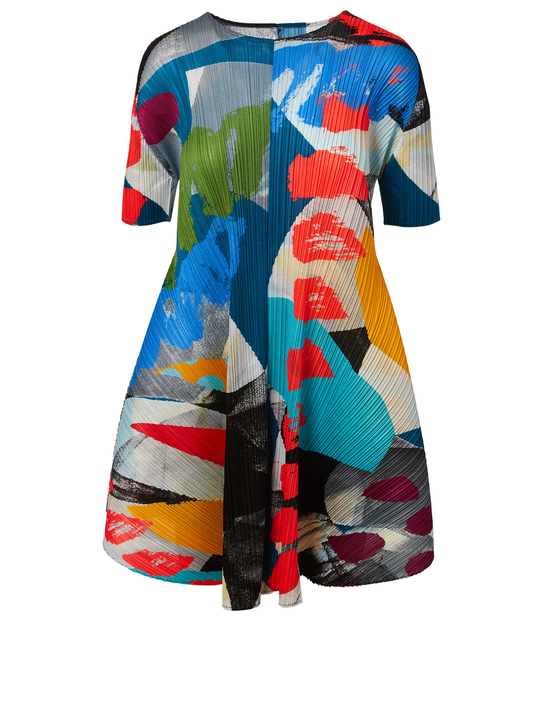 PLEATS PLEASE ISSEY MIYAKE Robe à plis à motif Laughing Rope Femmes Multicolore
