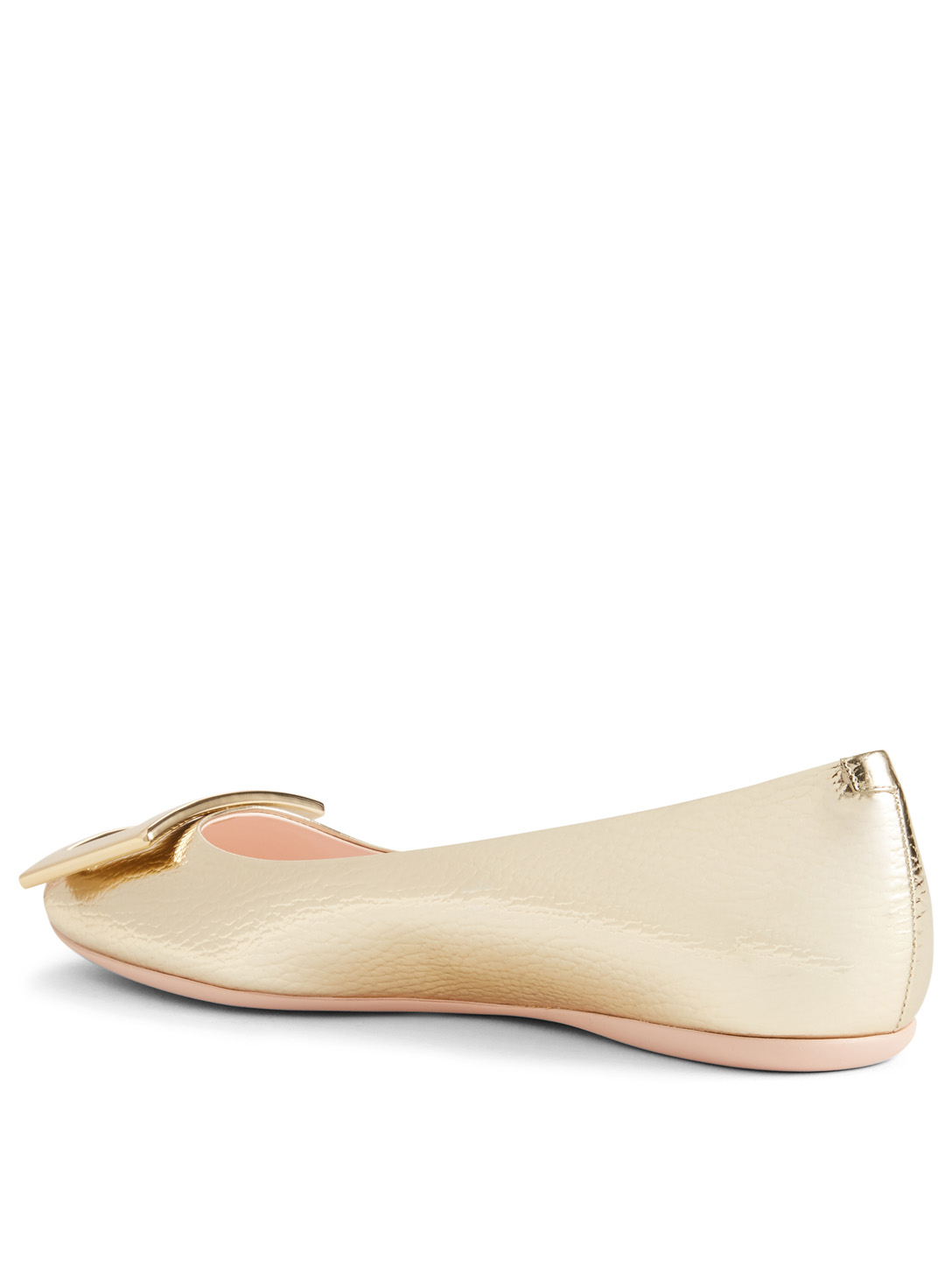 ROGER VIVIER Gommette Metallic Leather Ballet Flats With Buckle Womens Gold