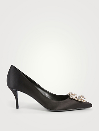 ROGER VIVIER Flower Strass Satin Pumps Women's Black