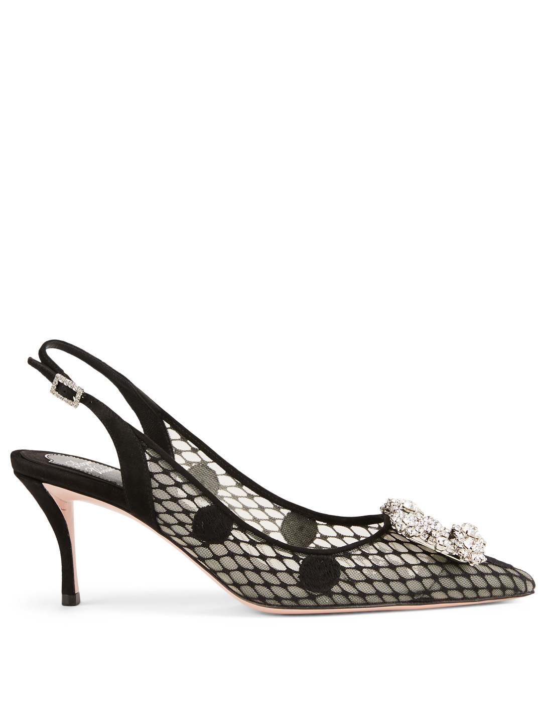 ROGER VIVIER Flower Strass Polka Dot Mesh Slingback Pumps Women's Black