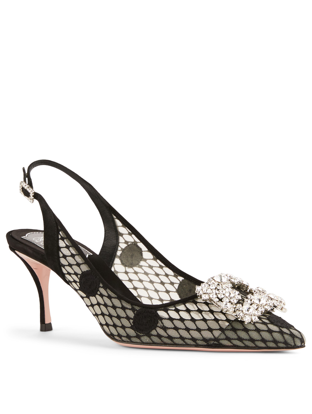 ROGER VIVIER Flower Strass Polka Dot Mesh Slingback Pumps Womens Black