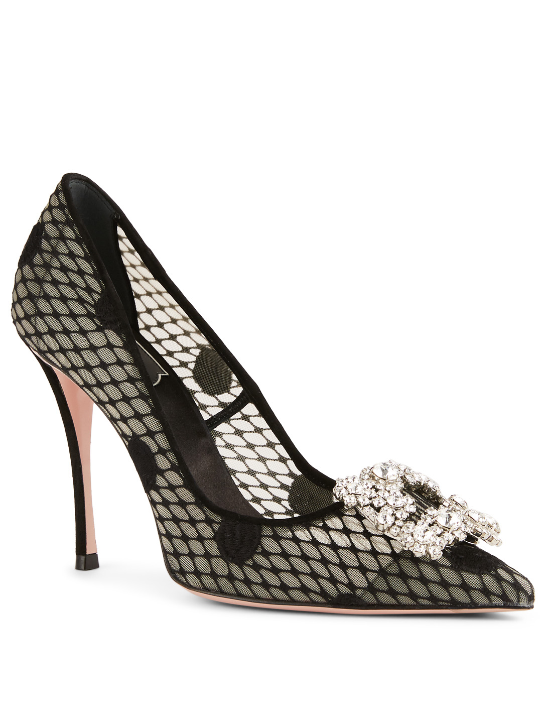 ROGER VIVIER Flower Strass Polka Dot Mesh Pumps Women's Black