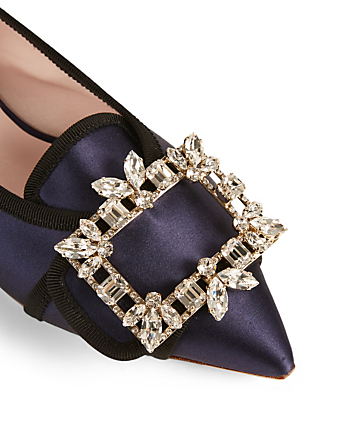 ROGER VIVIER Gommettine Satin Ballet Flats With Trianon Crystal Buckle Women's Blue