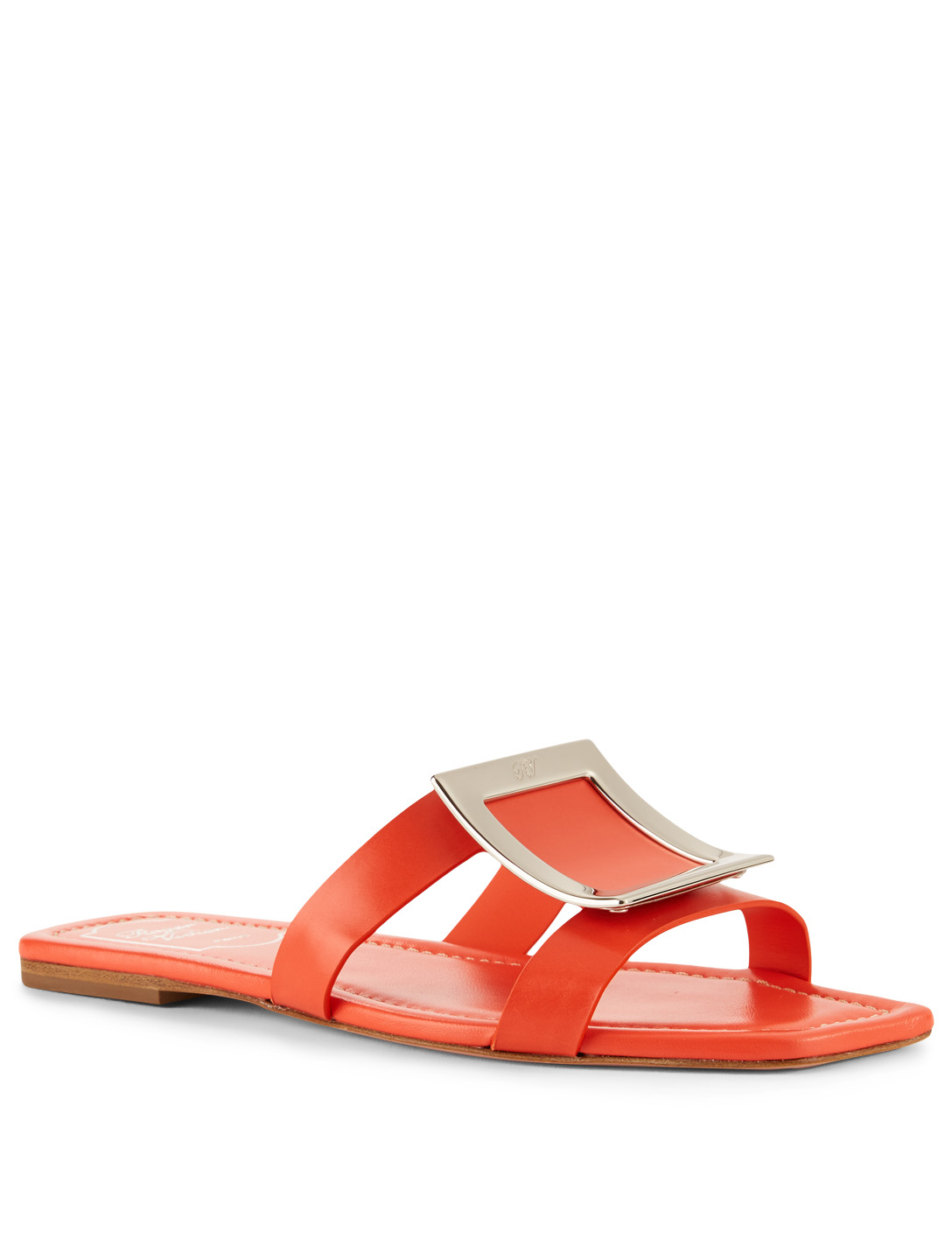 ROGER VIVIER Leather Slide Sandals With Buckle Womens Orange