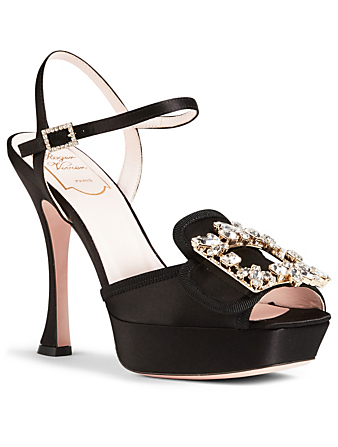 ROGER VIVIER Trianon Silk Platform Sandals Womens Black